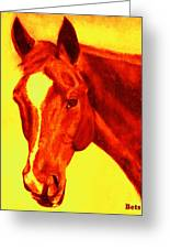 Horse Art Horse Portrait Maduro Deep Yellow And Orange Greeting Card
