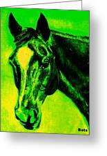 Horse Art Horse Portrait Maduro Green Black And Yellow Greeting Card