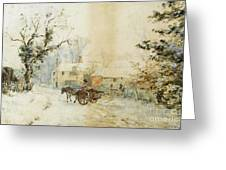 Horse Drawn Carriage In The Snow Greeting Card