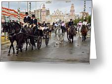 Horse Drawn Carriages And Women On Horseback Riding Sidesaddle O Greeting Card