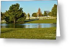 Horse Farm Pond Greeting Card