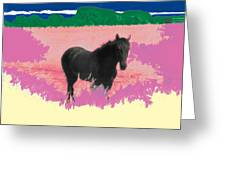 Horse In A Dreamfield 7 Greeting Card