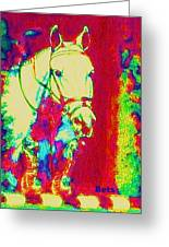 Horse Painting Jumper No Faults Psychedelic Greeting Card