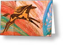 Horse Jumping Over Colors Greeting Card