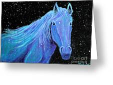 Horse-midnight Snow Greeting Card