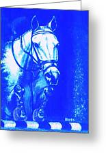 Horse Painting Jumper No Faults Aquamarine Greeting Card