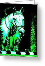 Horse Painting Jumper No Faults Black Blue And Green Greeting Card