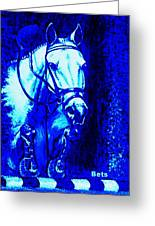 Horse Painting Jumper No Faults Blue Greeting Card