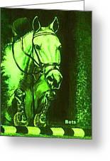 Horse Painting Jumper No Faults Deep Greens Greeting Card