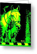 Horse Painting Jumper No Faults Green And Yellow Greeting Card