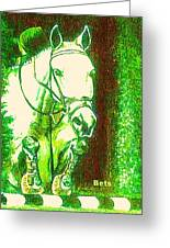 Horse Painting Jumper No Faults Green With Reds Greeting Card
