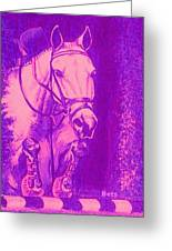 Horse Painting Jumper No Faults Hot Pink Greeting Card
