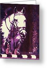 Horse Painting Jumper No Faults Purple Greeting Card