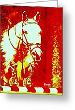 Horse Painting Jumper No Faults Red And White Greeting Card