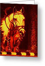 Horse Painting Jumper No Faults Reds Greeting Card
