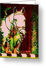 Horse Painting Jumper No Faults Reds Greens Greeting Card