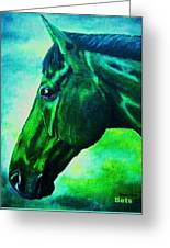 horse portrait PRINCETON blue green Greeting Card