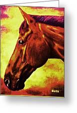horse portrait PRINCETON purple brown yellow Greeting Card