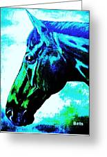 horse portrait PRINCETON really blue Greeting Card