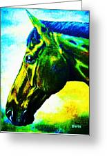 horse portrait PRINCETON vibrant yellow and blue Greeting Card