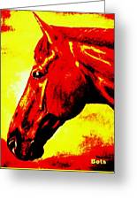 horse portrait PRINCETON yellow and red Greeting Card