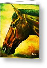 horse portrait PRINCETON yellow Greeting Card