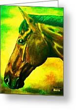 horse portrait PRINCETON yellow green Greeting Card