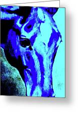 horse portrait RED wow blue Greeting Card