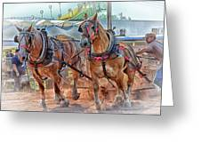 Horse Pull At The Fair Greeting Card