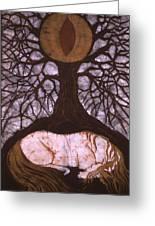 Horse Sleeps Below Tree Of Rebirth Greeting Card by Carol  Law Conklin