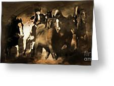 Horse Stampede Art 08a Greeting Card