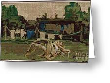 Horse Statue In The Field 1 Greeting Card