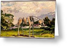 Horse Statue In The Field Greeting Card