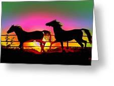 Horse Sunset Greeting Card