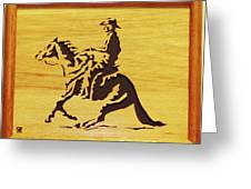Horse With Rider Greeting Card by Russell Ellingsworth