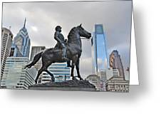 Horseman Between Sky Scrapers Greeting Card by Bill Cannon
