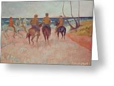 Horseman On The Beach Greeting Card by Paul Gauguin