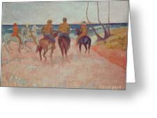 Horseman On The Beach Greeting Card