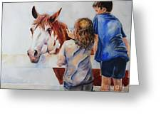 Horses And Children Painting Greeting Card