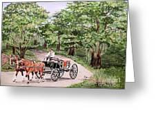 Horses And Wagon Greeting Card