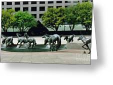 Horses At William Square  Greeting Card