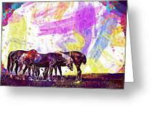 Horses Flock Pasture Animal  Greeting Card
