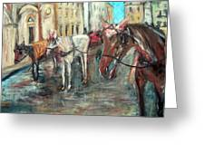 Horses In Florence Greeting Card