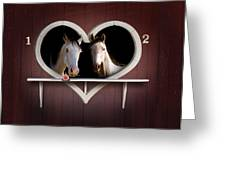 Horses In Stable Greeting Card