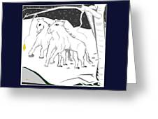 Horses On A Snowy Evening Greeting Card