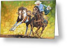 Horses On The Run Greeting Card