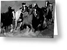 Horses Stampede 01 Greeting Card