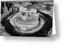 Horseshoe Bend Black White  Greeting Card