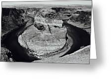 Horseshoe Bend In Black And White Greeting Card