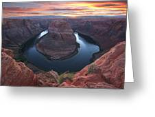 Horseshoe Bend Sunset Greeting Card by Loree Johnson